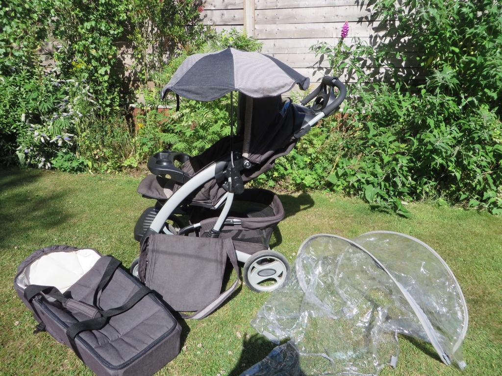 Mothercare pushchair, carry cot, raincover, from birth