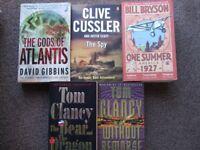 5 Paperback books: TOM CLANCY (x2), CLIVE CUSSLER, DAVID GIBBINS, BILL BRYSON