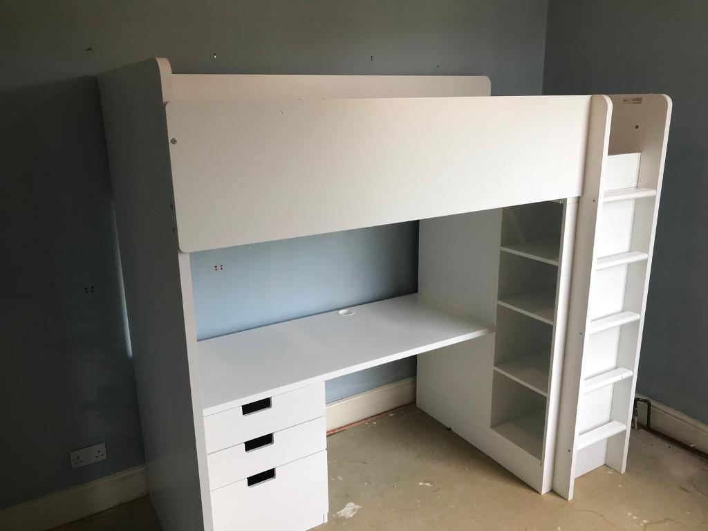 IKEA Cabin bed with built in wardrobe & shelves.