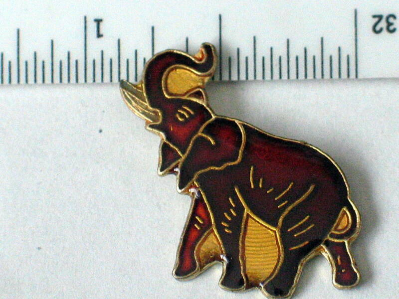 Vintage Brown African Elephant in Stride Enamel Pin (#01 Animals)
