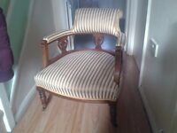 antique victorian carved walnut tub chair, on original brass castors,profesionaly re-upholstered