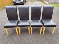 4 High Scroll Back Brown Leather Dining Chairs FREE DELIVERY 491