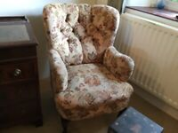 Armchair Wingback Upholstered Floral Pattern