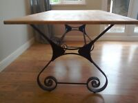 Attractive wrought iron and wood dining table 5'x3'