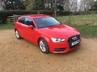 Audi A3 Hatchback 1.4 TFSI (150bhp) Sport 3d 2015/15 Red, One lady owner private sale