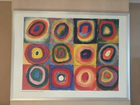 Modern abstract Kandinsky style print with frame
