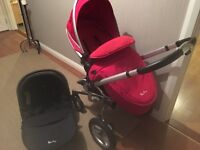 Silver cross to pram , car seat and isofix base , footmuff and raincover . Excellent condition