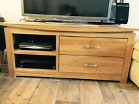 Widescreen TV+DVD unit with 2 drawers .Bought from Oak Furniture land for £350.Great condition.