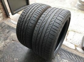 Pair Used Tyres Bridgestone Potenza RE050A 1 RSC (run flat) 225/45r17 91W Dot 3917 / 4117