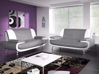 BRAND NEW --- LEATHER CAROL 3 +2 SEATER SOFA AVAILABLE IN GREY AND WHITE OR WHITE & BLACK