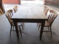 Rustic Pine kitchen table & 4 matching chairs