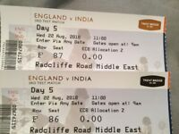 2 tickets Day 5 England v India wednesday 22/8. Nottingham