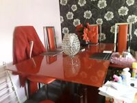 Beautiful Red Glass Dining Table With Six Chairs