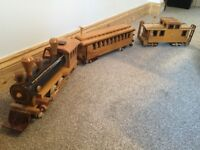 Hand made wooden train and carriages