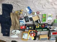 Job lot of car boot items including 3 brand new pairs of jeans vintage scales fruit machine