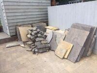 Mixed patio slabs