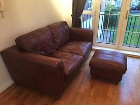 Comfortable three seat sofa & foot stool