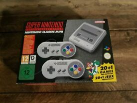Super Nintendo Classic Mini, boxed with controller extenders