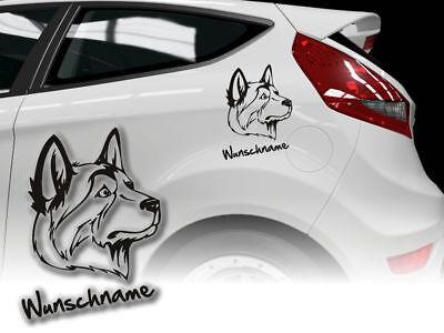 Aufkleber Labrador Husky H266 Hundeaufkleber Wunschname Auto