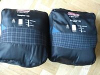 TWO Cozy cotton rectangular Coleman junior sleeping bags excellent condition