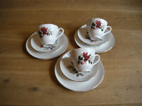 1 tea cup, 1 saucer, 1 side plate for £2.50 red rose or turquoise