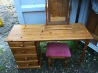 Solid pine dressing table with stool and mirror