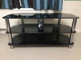 High quality glass and chrome large TV unit table - very solid and heavy