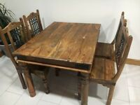 INDIAN OAK WOOD DINING TABLE