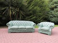 Chesterfield Lime Green Leather 3+1 Suite