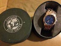 Citizen Eco Drive ladies chronograph watch in rose gold with blue face