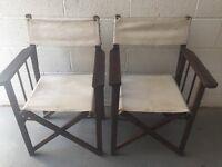 2 Canvas/Teak Garden Directors Chairs