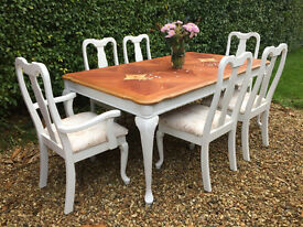 Beautiful Vintage Shabby Chic French Dining Table Four Chairs & 2 Carvers.