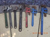 ASSORTED WRENCHES INCLUDING 2 RECORD