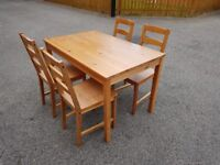 Solid Pine Table & 4 Chairs FREE DELIVERY 350