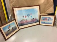 Hot Air Balloon Prints Framed - with metallic gold highlights