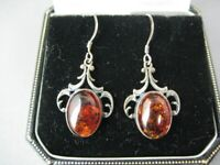 Vintage Silver and Amber Drop Earrings