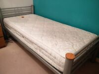 Metal single bed Frame with mattress