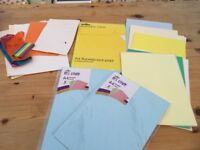 Selection of card in various colours & pad of 31 sheets of flourescent paper in various colours, 2 p