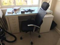 Ikea Office Desk with Pedestal unit and Office Chair