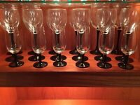 Set of black stemmed glasses