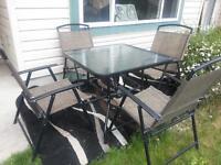Glass patio set