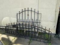 2no Black ornate decorative wall top fence railings & 1no black matching gate.