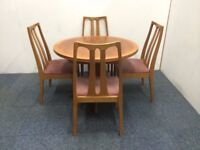 Mid Century Parker Knoll Extending Table And Four Dining Chairs