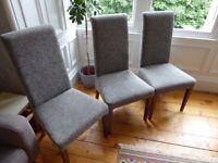 3 x John Lewis Maharani Upholstered Dining Chair, Matex Grey