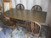 OAK REFECTORY TABLE & 4 OAK WHEELBACK CHAIRS. VIEWING/DELIVERY AVAILABLE