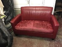 Burgundy Red Leather Style Sofa Two 2 Seater - free local delivery
