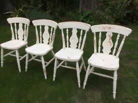 Extendable dining table and four shabby chic chairs
