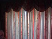 Fully Lined curtains to fit front bay and rear patio doors.Cream brown green,swags and tails