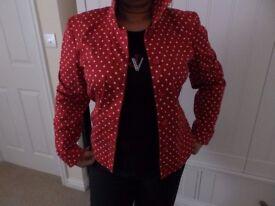 Viyella Red and White Polka Dot Lady's Jacket Size 10