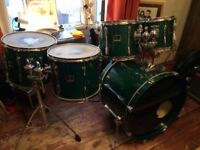 Yamaha Stage Custom 1997 Emerald Green Drum Kit - 5 shells pack plus Tama cases